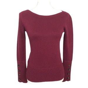 NWT Ann Taylor Crewneck Button Cuff Knit Sweater